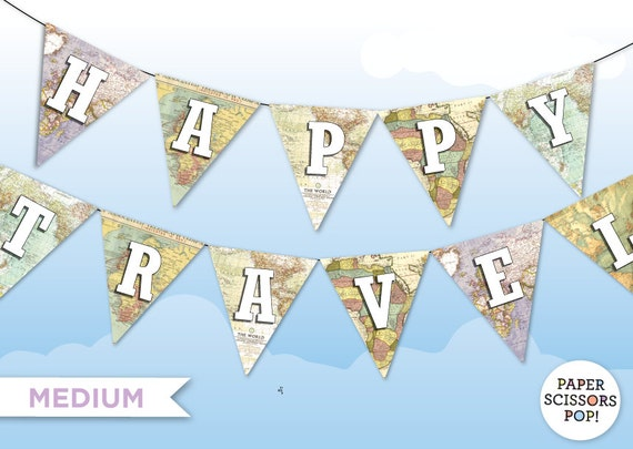 photo relating to Printable Atlas named Joyful Travels MAP BUNTING Medium Sized Printable Do-it-yourself Bash