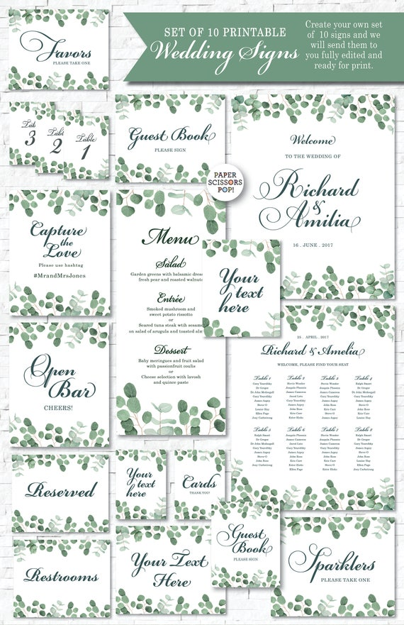 picture relating to Wedding Signs Printable identify Eucalyptus Wedding ceremony Symptoms, 10 Marriage Indications Package deal, Botanical