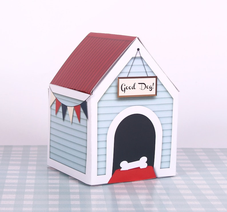 Puppy Party Favor Printable Dog House Gift Box Birthday