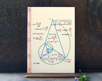 Golden Ratio. Geometry Journal. Fibonacci. Math Notebook. Science Art. Geometry Notebook. Embroidered Journal. Math Teacher Gift. A5 Journal