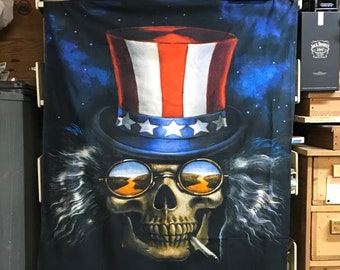 Grateful Dead Tapestry Wall Hanging, Uncle Sam Skeleton Tapestry, US Blues, Heady Psychedelic Wall Art, Small