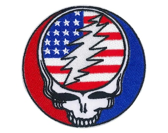 Grateful Dead Steal Your Face Patch, Stealie Flag, Make America Grateful Again   Embroidered USA SYF, 13 Point Lightning Bolt Iron On