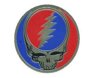 Grateful Dead Metal Steal Your Face Sticker, SYF Lightning Bolt Metal Emblem, Stealie Decal    Vintage Dead, Sizes - small, medium, large