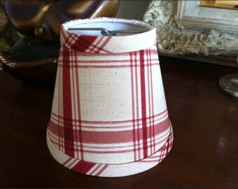 Plaid lamp shade etsy check chandelier lampshade brick red and cream check shade clip fitter aloadofball Image collections