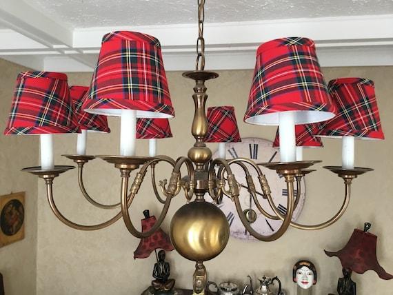 Red tartan chandelier lampshade plaid shade tartan
