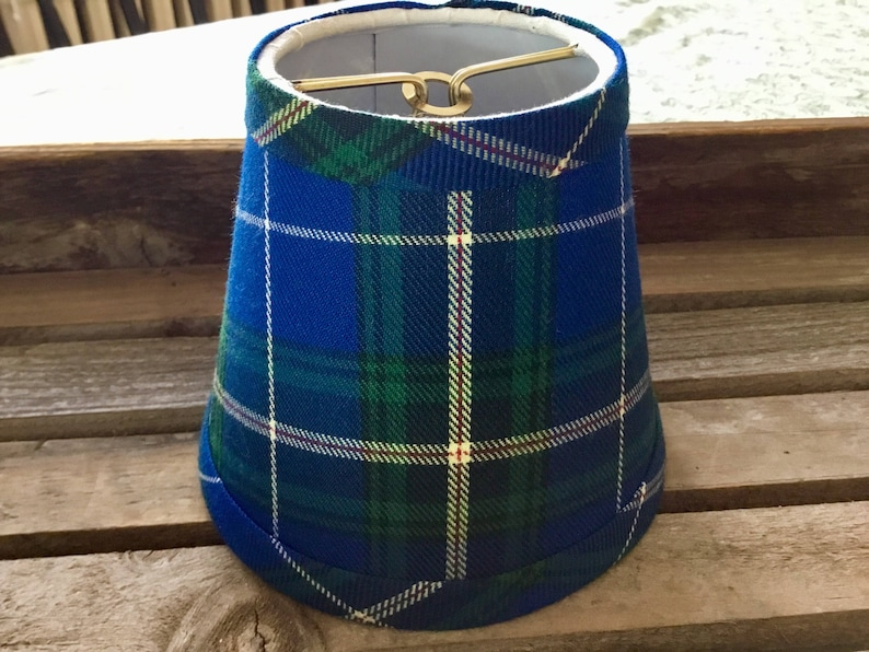 Blue tartan chandelier lampshade plaid shade tartan