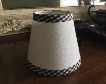White linen Lampshade black and and White gingham check trim linen chandelier lampshade