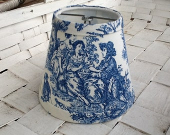 French toile chandelier lampshades Blue and White toile