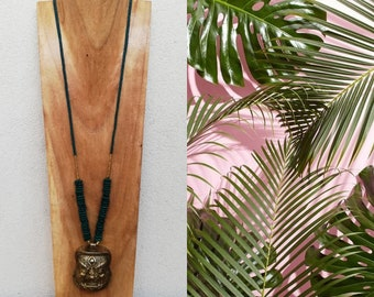 beach Bahia Del Sol surgical stainless steel tropical Round pendant AUM hippie chic Long necklace boho pink gold