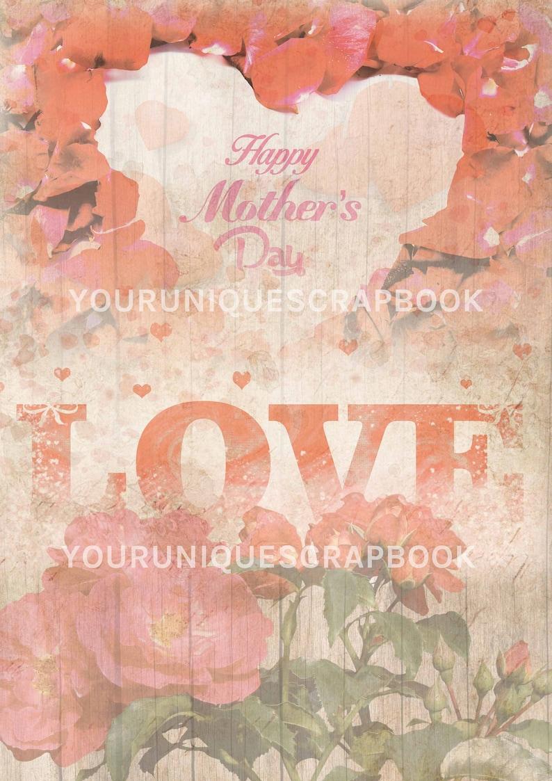 digital download Digital Scrapbook Scrapbooking journal Paper 10 Mother/'s Day themed papers Printable Craft paper