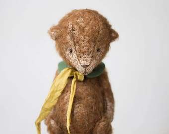 Made To Order Mohair Teddy Bear 7 Inches Handmade Toy Stuffed Animal Embroidered Collar Plush Toy Woodland Animals Personalized Gift