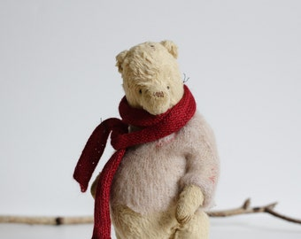 Made To Order Mohair Teddy Bear Knitted Scarf Pink Sweater 9 Inches Handmade Toy Soft Toys Stuffed Animal Christmas Gift Artist Teddy Bear