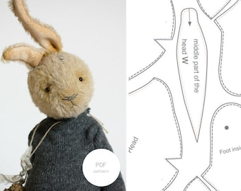 PDF Sewing Pattern & Tutorial Mohair Rabbit 7,5 Inches Stuffed Animal Pattern Easter Bunny Plush Pattern Artist Teddy Bear Pattern For Her