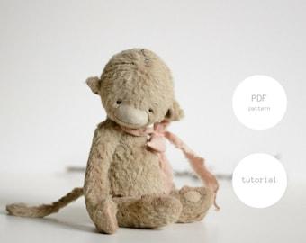 PDF Sewing Pattern & Tutorial Mohair Monkey 6 Inches Stuffed Animal Pattern Artist Teddy Bear Pattern Sewing Pattern For Women Plush Pattern