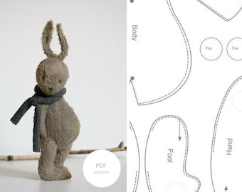 PDF Sewing Pattern & Tutorial Stuffed Bunny 7 Inches Mohair Rabbit Pattern Stuffed Animal Pattern Easter Bunny Pattern For Women Soft Toys