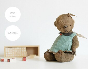Pdf Sewing Pattern & Tutorial Mohair Teddy Bear 9 inches Artist Teddy Bear Pattern For Women Stuffed Animal Pattern Plush Pattern Soft Toys