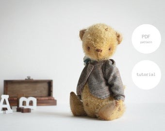 PDF Sewing Pattern & Tutorial Mohair Teddy Bear In Clothes 9 Inches Stuffed Animal Pattern For Women Artist Teddy Bear Pattern Plush Pattern