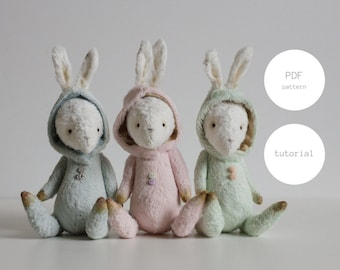 PDF Sewing Pattern & Tutorial Easter Bunny 7 inches Mohair Rabbit Pattern Stuffed Animal Pattern Artist Teddy Bear Pattern For Woman