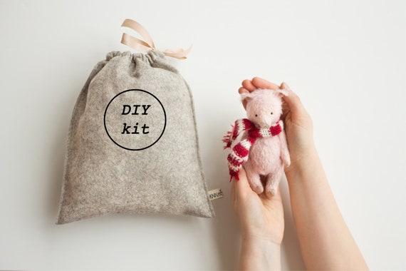 Diy Pink Pig Toy Stuffed Animal Sewing Kit Diy Kit Craft Etsy