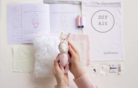 Sewing Gift Diy Bunny Rabbit Lover Gift Kit Stuffed Animal Sewing Kit Beginner Craft Kit Diy Kit