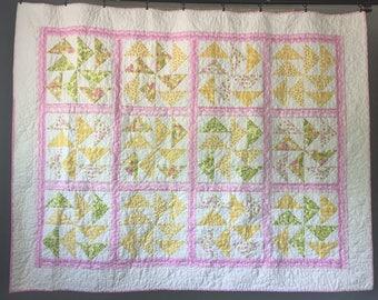 Pink/Yellow Pinwheel Quilt