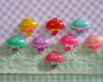 8 pcs Umbrella Cabochon, Dotted Umbrella Cabochons,Assorted Mixed Color Flatback Rainy Days