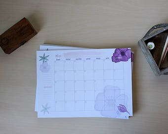 Planificateur de papier mensuel