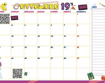 Calendario 2020 Editabile.Calendario Etsy