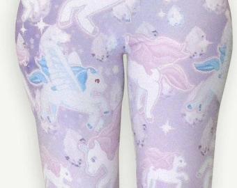 Unicorn Leggings Pegasus Pony Pastel Fairy Kei Lolita Pastel Galaxy Leggings Stars Print Universe Size XS Through 5XL *Made to Order*