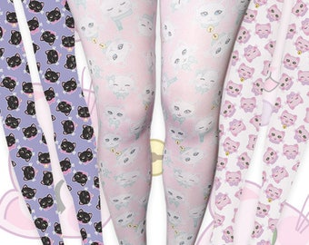 Kawaii Cat Print Tights Fairy Kei Cat Tights Cat Stockings Kitten Kitty Pattern Multicolor Size XS Through 3XL *MADE 2 ORDER, Month*