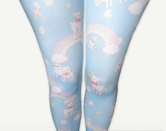 Kawaii Rainbow Tights Pastel Fairy Kei Lolita Tights Stockings DaniLamb Sheep Cute Lamb Size XS Through 3XL *Made 2 Order*