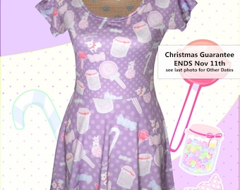 97c34b53d00 Candy Dress Sweets Fairy Kei Cap Sleeve Dress Printed Dress Pastel Konpeito  Kawaii Pastel Goth XS-5XL  Made 2 Order