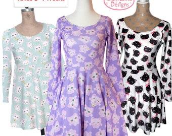 d6dd22dd6bd4 Kawaii Cat Dress Long Sleeve Cat Dress Fairy Kei Cat Print Dress Cat Kitten Kitty  Pattern Size XS Through 3XL *Made to Order, MONTH*