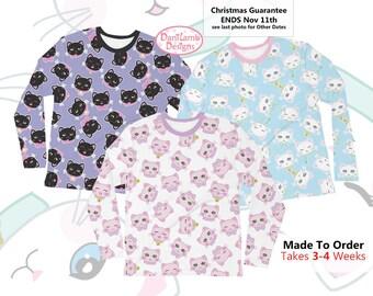 Kawaii Cat Long Sleeve Shirt Cat Heads Shirt Fairy Kei Cat Cat Kitten Kitty Pattern Size XS Through 3XL *MADE 2 ORDER, Month*