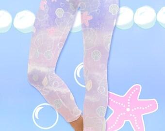Pastel Mermaid Leggings Kawaii Marine Ocean Mermaid Leggings Splash Dream Undersea Seashell Pastel Fairy Kei  Size XS Through 5XL *PreOrder*