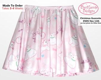 Kawaii Fairy Kei Skirt Lamb Skirt Pastel Lamb Danilamb Sheep Bows Bubbles Hearts Cute Lamb Size XS Through 3XL *Made 2 Order*