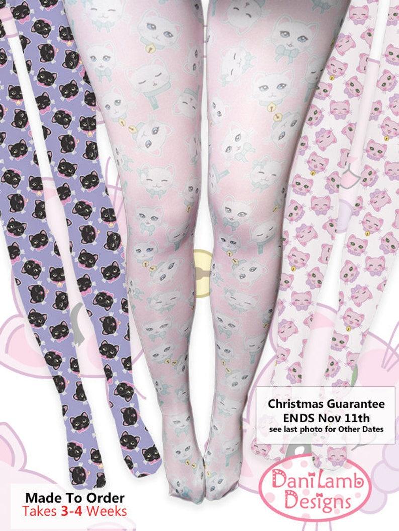 6ff618874d1 Kawaii Cat Print Tights Fairy Kei Cat Tights Cat Stockings