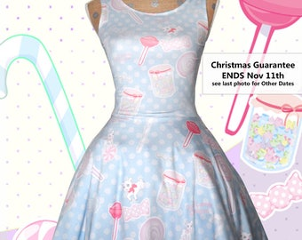 Candy Dress Kawaii Fairy Kei Dress Printed Skater Dress Pastel Konpeito Sweets Pastel Goth Size XS Through 5XL *MADE 2 ORDER*