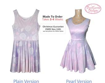 Kawaii Marine Ocean Mermaid Dress Printed Skater Dress Splash Dream Undersea Seashell Pastel Fairy Kei Size XS Through 5XL *Made 2 Order*