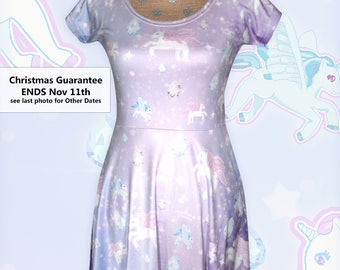 Unicorn Dress Pegasus Pony Fairy Kei Dress Pastel Galaxy Dress Cap Sleeve Dress Stars Universe Size XS Through 5XL *Made to Order*