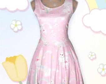 Pastel Rainbow Dress Kawaii Fairy Kei Skater Dress Lamb Dress Pastel Lamb Danilamb Cute Lamb Size XS Through 5XL *Made 2 Order*