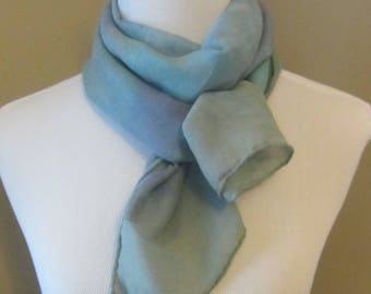 Hand dyed blue and teal silk and wool scarf -
