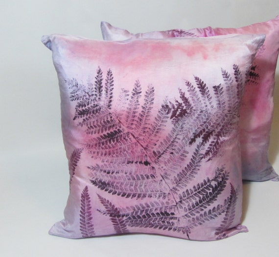 Hand Dyed And Printed Purple And Pink Fern On Silk Throw Etsy