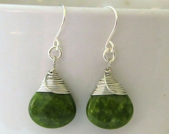 Mismatched earrings Green Agate Silver 925