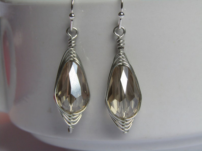 Faceted Beige Crystal Teardrop Artisan Wire Wrapped Silver Earrings