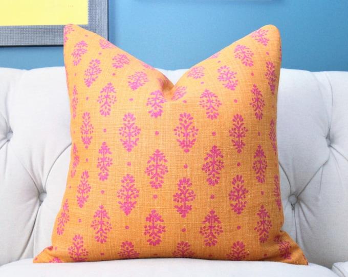 Lisa Fine Rajkot Saffron/Magenta Pillow Cover - Bright Orange & Fuchsia Pink Throw - Modern Graphic Designer Cushion - Moroccan Pillow Cover