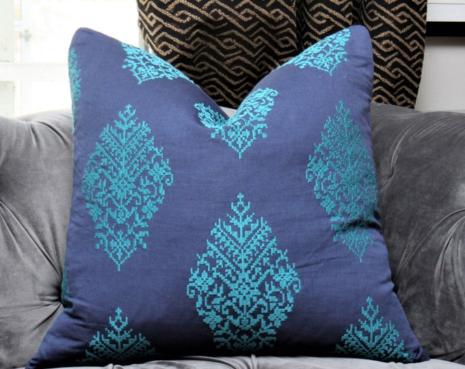 Schumacher Pillow Cover - Zinda Embroidered Blue Teal Medallion -  Paisley Pillow Cover - Turquoise Blue Pillow Cover