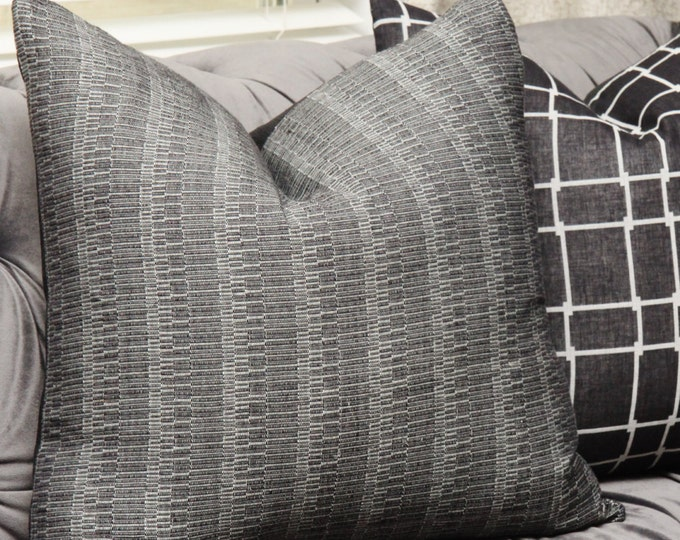 Black and Gray Woven Pillow Cover - Black Geometric Pillow - Bohemian Black Pillow Cover - Black Home Decor -  Mid Century - Motif Pillows