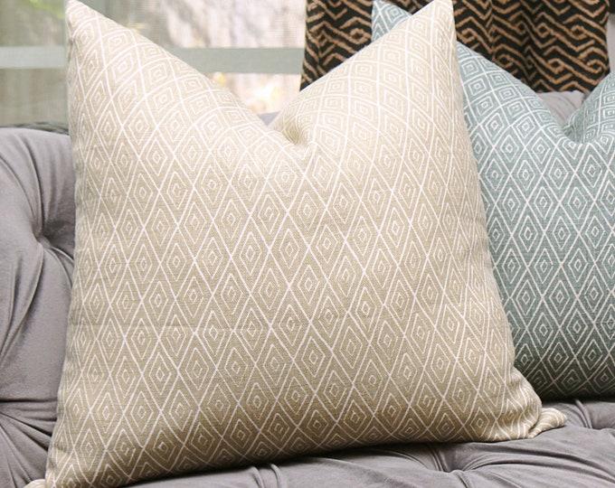 Peter Dunham Atlas in Stone - Neutral Linen - Designer Wheat Pillow Cover - Motif Pillows - Global home decor