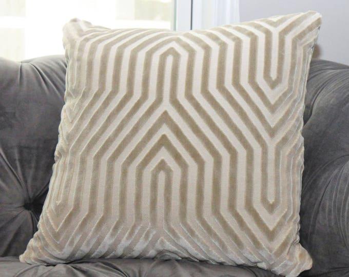 Mary McDonald Greige Velvet Pillow Cover - Vanderbilt Velvet Throw Pillow - Schumacher - Designer Pillow